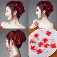 The bride headdress red flowers Mantianxing Beaded ornaments (Color: Red)