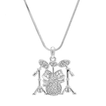 Flat Drum Necklace Silver Plated Finish