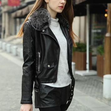 women winter Thick leather jacket with fur collar pink black bomber motorcycle Leather jackets women leather coat jaqueta couro