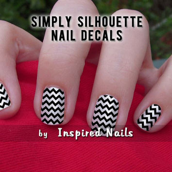 Chevron Nail Decals Black and Clear Simply by InspiredNails