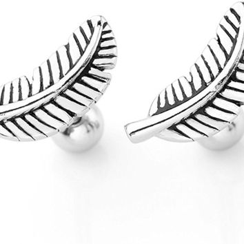 2pc Stainless Steel Silver Gold Barbell Feather Cartilage Helix Stud Earrings 16 Gauge 5/16""