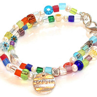 Friendship Pearl Beaded Bracelet Millefiori Wish Charm Sparkle Tribal Silver Multistrand Bangle Fizz Candy