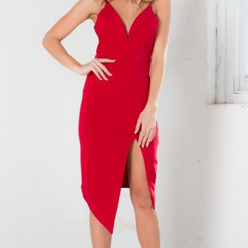 Swan Dive dress in red
