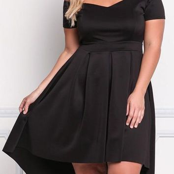 Black Off Shoulder High-Low Plus Size High Waisted Party Tutu Maxi Dress