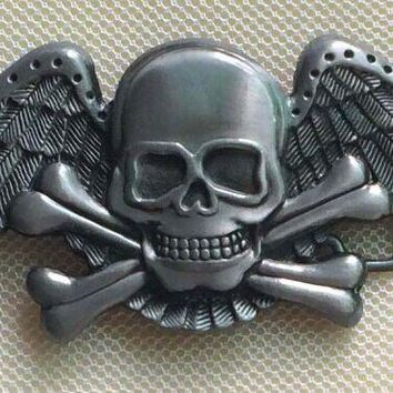 The Eagle and Skull Belt Buckle with pewter finish SW-BY187 suitable for 4cm wideth belt with continous stock