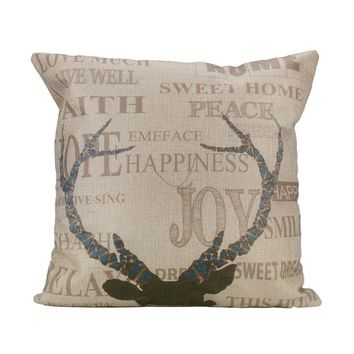 "Deer Antlers - 18"" Pillow Cover - Variety"