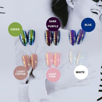 New fashion multi refraction fake nails green coffee blue pink white press on tips 24Pcs