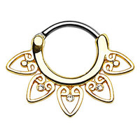 Tribal Fan Clear CZ Gems Septum Clicker