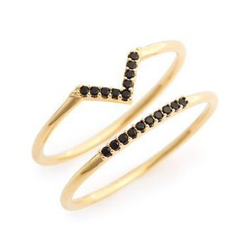 Nadri 'Micro Geo' Delicate Crystal Embellished Rings (Set of 2) | Nordstrom