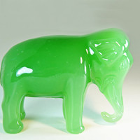 JADE Green Glass ELEPHANT Figurine pair  by SoulfulOfferings