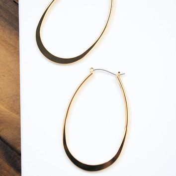 Large Oval Hoop Earring, Gold