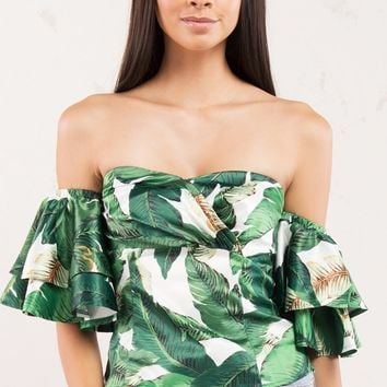 Banana Leaf Ruffle Crop Top