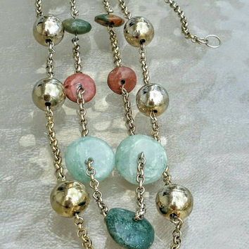 Vintage Art Deco Earthy Coral and Green Toned Agate? And Goldtone Beaded Multi Two Strand Necklace