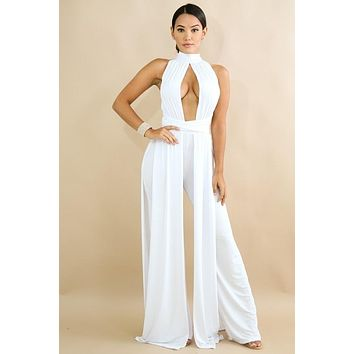 Draped Jumpsuit White