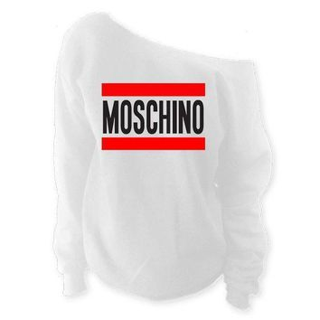 Moschino Off-The-Shoulder Wide Neck Loose Print Long Sleeve Sweatshirt Pullover Top I