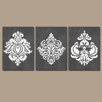 DAMASK Wall Art, Canvas or Prints, Watercolor Decor, Gray Bathroom Decor, Damask Wall Art, Gray Wall Art, Bathroom Pictures, Set of 3