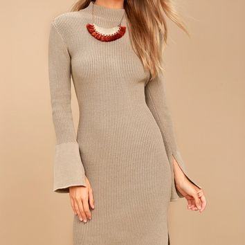 Aleina Beige Bodycon Midi Sweater Dress