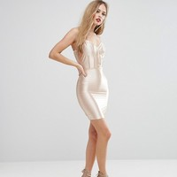 NaaNaa High Shine Bodycon Dress With Paneled Corset Detail at asos.com