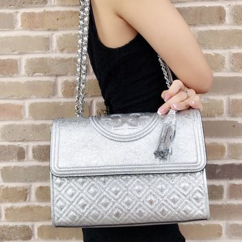 Tory Burch Large Fleming Quilted Leather Shoulder Bag Crossbody Spark Silver