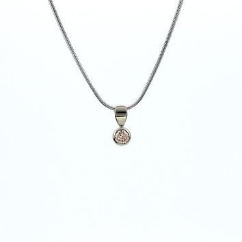 Champagne diamond necklace made from white gold, brown diamond pendant, unique, nickel free, white gold necklace, champagne jewelry, bezel