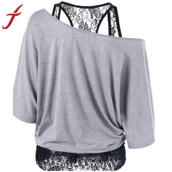 Off Shoulder Blouse 5 Colors Sexy Women's  Lace Loose Casual Short Sleeve Blouse