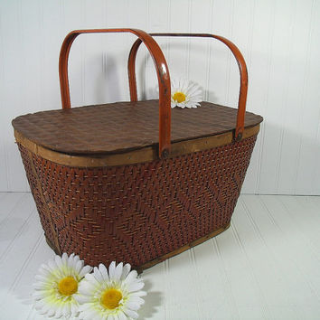 Vintage Rustic Red-Man Label Wood, Metal & Natural Wicker Woven Picnic Hamper - Early Redmon Handled Basket - Shabby Chic Primitive Worn Bin