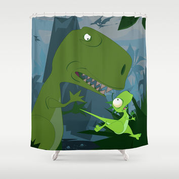 Elbert the Dinosaur Shower Curtain by Jonathan Wilson