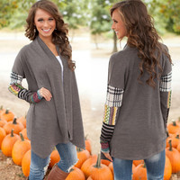 Long-Sleeved Stitching Knit Cardigan Printed Jacket in Gray