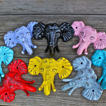 "Bright ""ELEPHANT"" cast iron Wall Hooks, Fun Pops of Color by AquaXpressions"