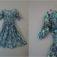 XS Splatter Print Cotton Day Dress with Full Skirt, 32 bust, 23 waist, Vicky Vaughn Junior, Vintage 50s dress