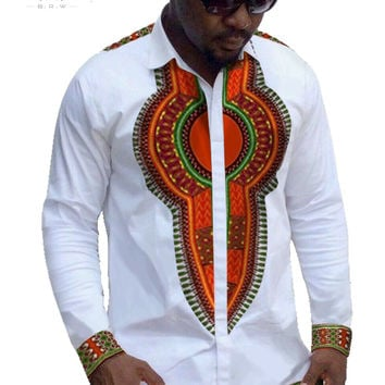 Traditional African Clothing Mens Casual Shirt Brand Clothing Mens Cotton Shirt Dashiki Long Sleeve Men Plus Size 6XL BRW WYN152