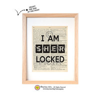 Sherlocked dictionary quote print-Sherlocked print-Sherlock print-Sherlocked on book page-Upcycled Vintage Dictionary art-by NATURA PICTA