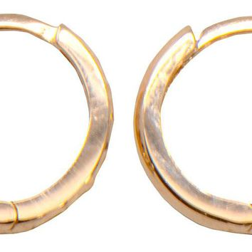 14k Gold Diamond-Cut Reversible Small Huggie Hoop Earrings (2.25mm Thick), 12.5mm