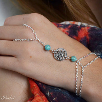 Slave Bracelet Hand Bracelet  Piece Hipster Silver Chain Bohemian Tibetan Charm Turquoise Bead  Hand Jewelry Piece BRAlly