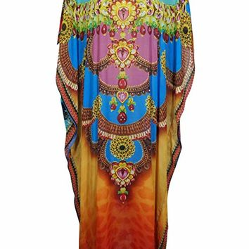 Mogul Interior Anahi Georgettina Flowy Rhinestone Long Digital Print Caftan One Size (Multicolor-1): Amazon.ca: Clothing & Accessories