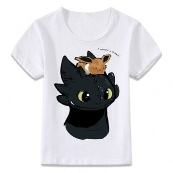 Kids Clothes T Shirt Eevee and Toothless  Sci-fi Boys and Girls Toddler Shirts TeeKawaii Pokemon go  AT_89_9