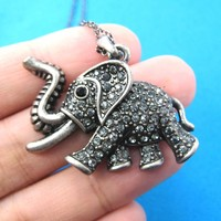 Elephant Shaped Animal Pendant Necklace in Silver with Rhinestones | DOTOLY