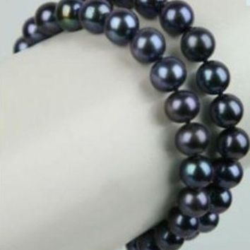 2Row 8-9Mm Tahitian Black Pearl Bracelet 7.5 Inch