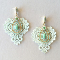 Mint Lace Earrings
