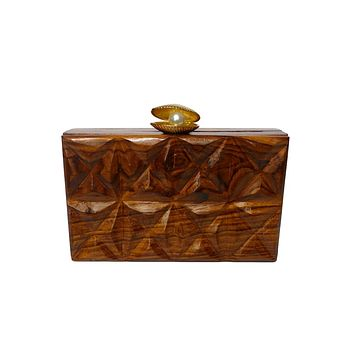 Wooden Oyster Shell Pearl Textured Box Clutch