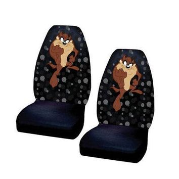 Licensed Official New Classic Looney Tunes Cartoon Tasmanian Devil Taz Car Truck Front Seat Covers
