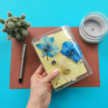 Orchid notebook, terrarium A6 notebook binder, white blue orchids journal, unique  sketchbook with pressed flower, gift for orchid fans