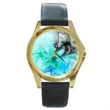 Blue And Turquoise Dreams Fractal Gold Stainless Steel Watch Round