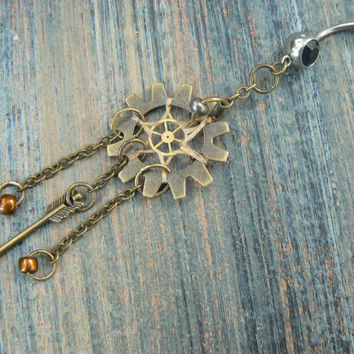 steampunk dreamcatcher belly ring arrow gears in steampunk goth fantasy native tribal boho belly dancer tribal fusion and hipster style