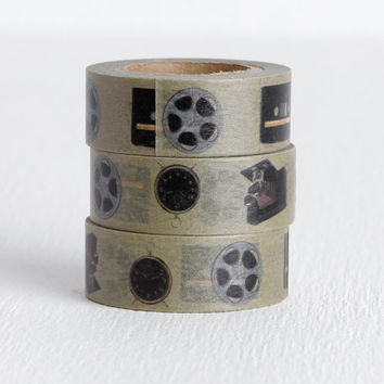 Old Electronics Washi Tape with Folding Camera, Fan, Clock, Film Reel and Cassette Tape, Film Movie Old Hollywood Wedding Idea 15mm x 10m
