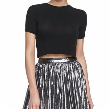 Short Sleeve Crewneck Crop Top (Alice + Olivia)