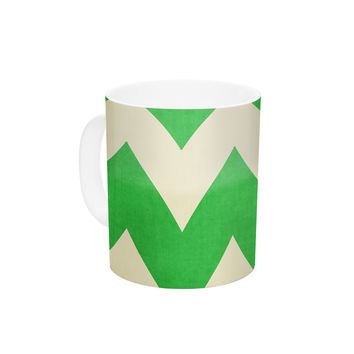 "Catherine McDonald ""Granny Smith"" Green Chevron Ceramic Coffee Mug"