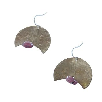 Small Hammered Crescent Earrings with Raw Ruby Nugget Gemstone