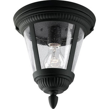 Progress Lighting P3883--31 Westport Black One-Light Outdoor Ceiling Flush Mount with Clear Seeded Glass