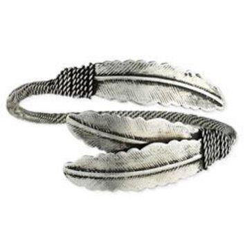 Etched Silver Boho Feather Cuff Bracelet